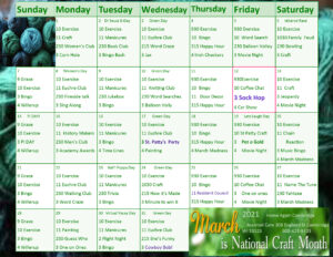 Cambridge Assisted Living March 2021 Activity Calendar
