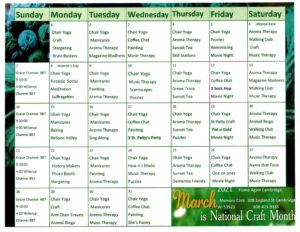 Cambridge Memory Care March 2021 Activity Calendar