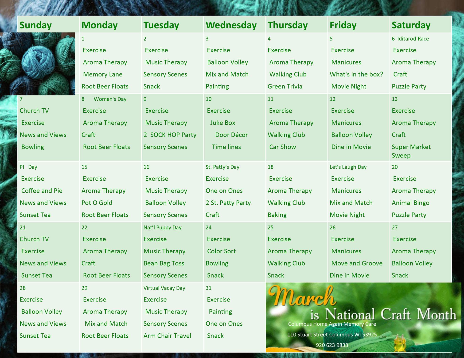 Columbus Memory Care March 2021 Activity Calendar