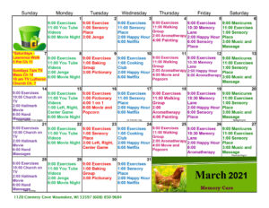 Waunakee Memory Care March 2021 Activity Calendar