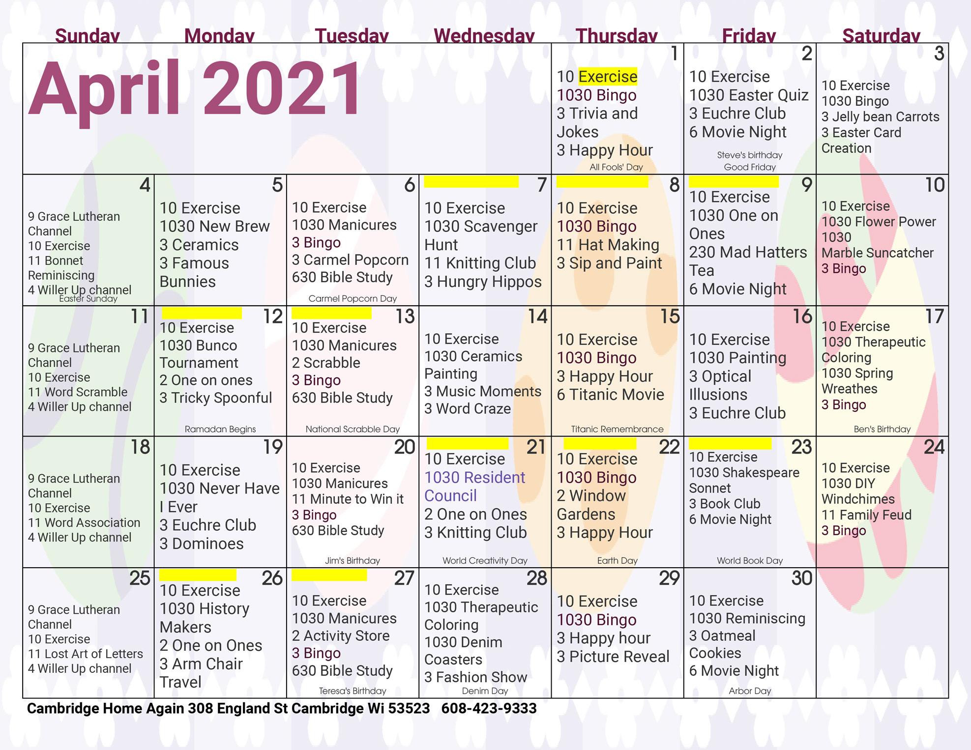 Cambridge Assisted Living April Activity Calendar