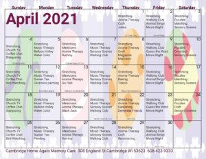 Cambridge Memory Care April Activity Calendar