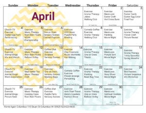 Columbus Memory Care April Activity Calendar