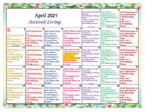 Waunakee Assisted Living April Activity Calendar