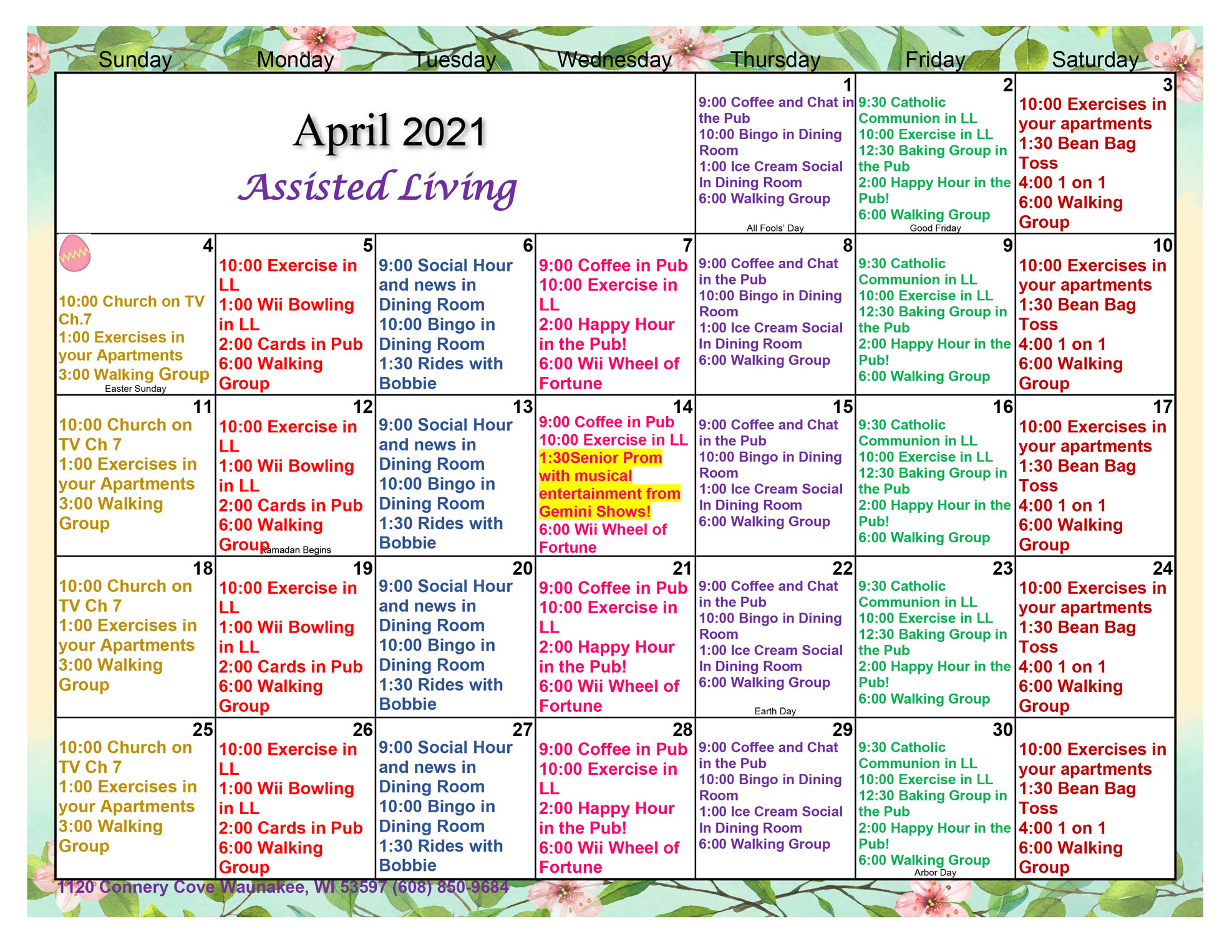 Waunakee Assisted Living April Activity Calendar