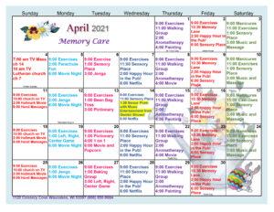 Waunakee Memory Care April Activity Calendar