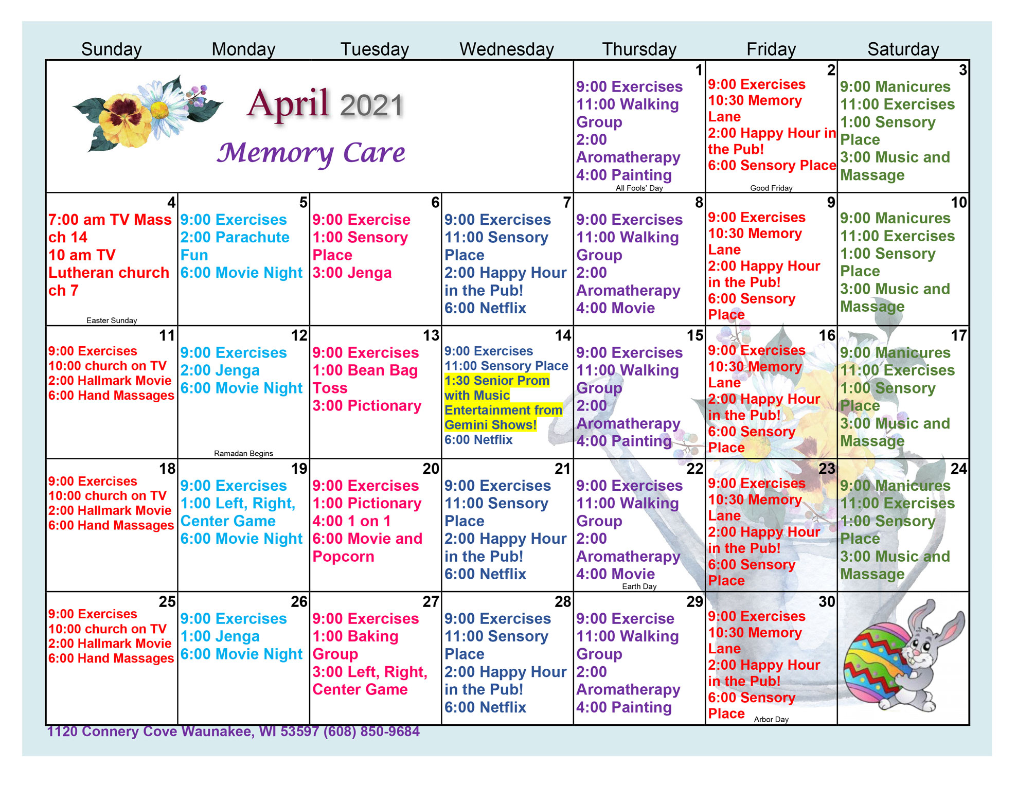 Waunakee Memory Care April Activity Calendar