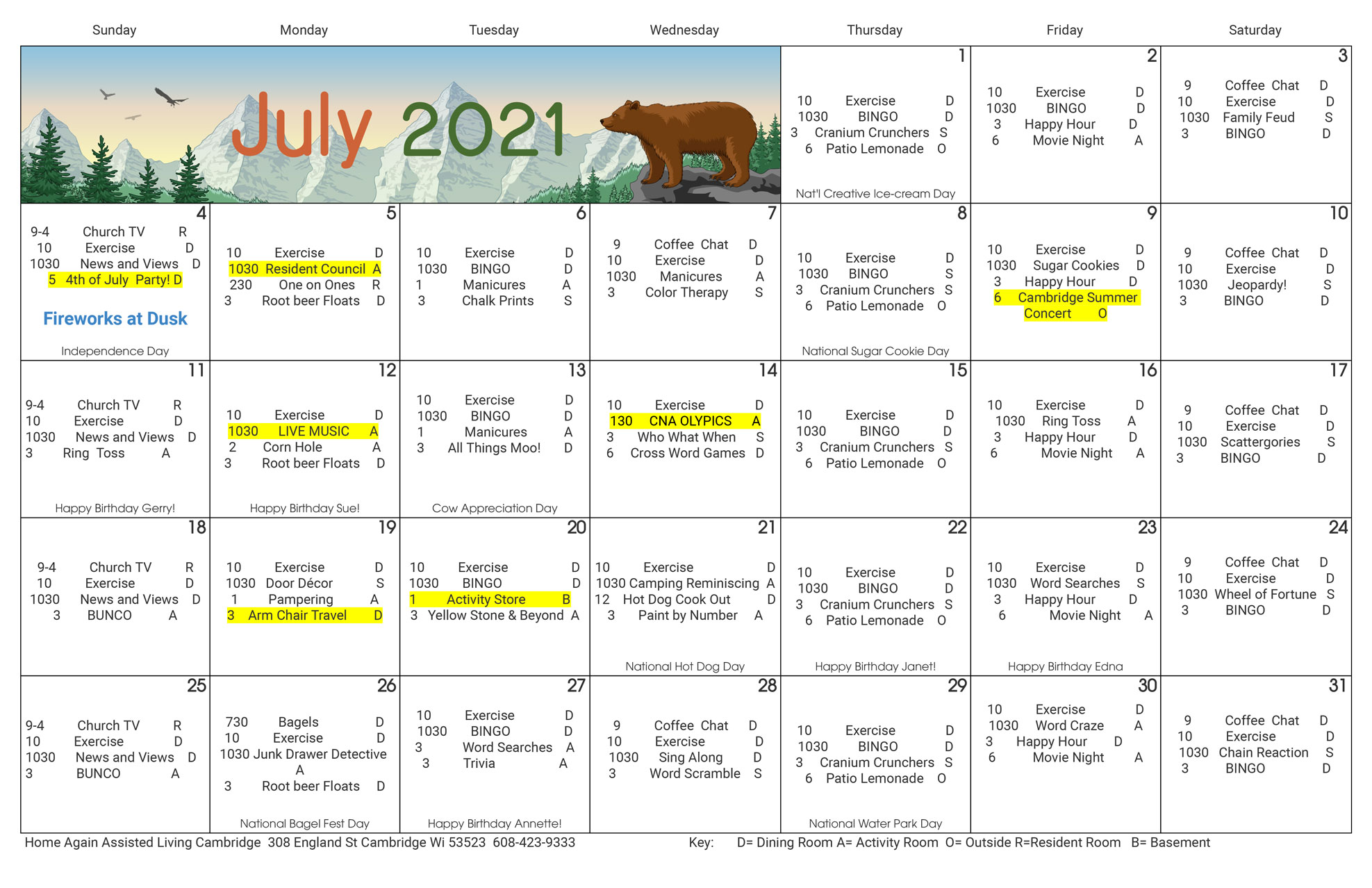 Cambridge Assisted Living July Activity Calendar