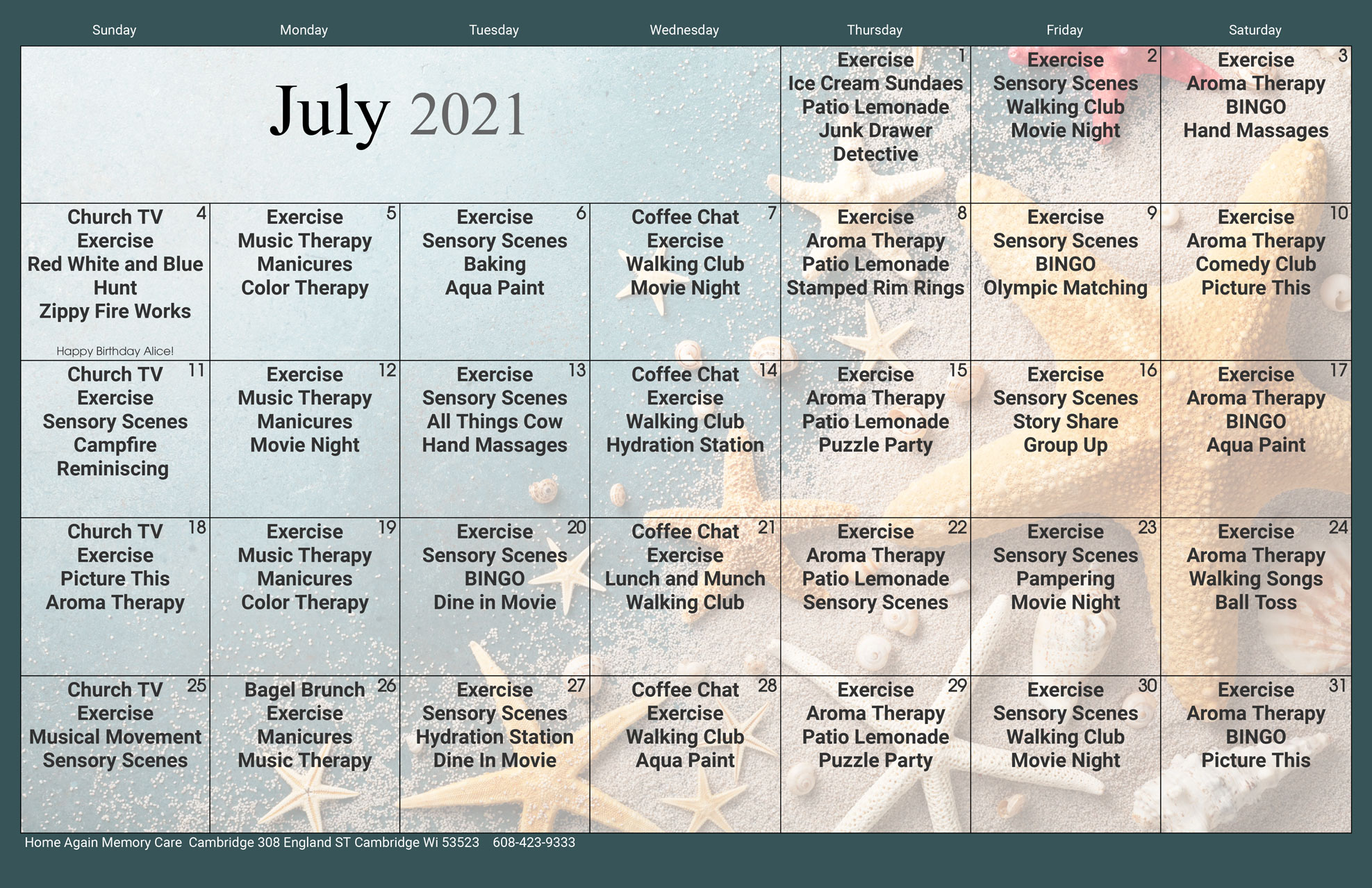 Cambridge Memory Care July Activity Calendar