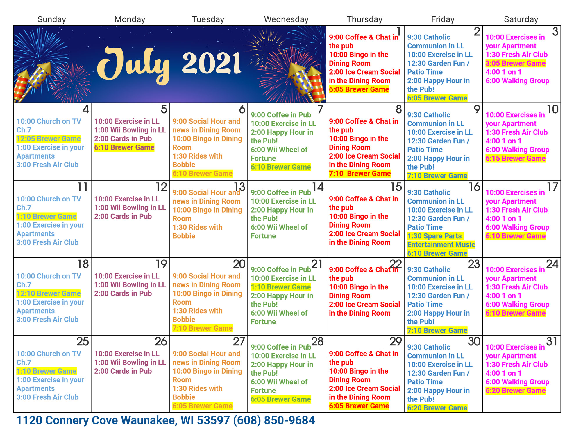 Waunakee Assisted Living July Activity Calendar