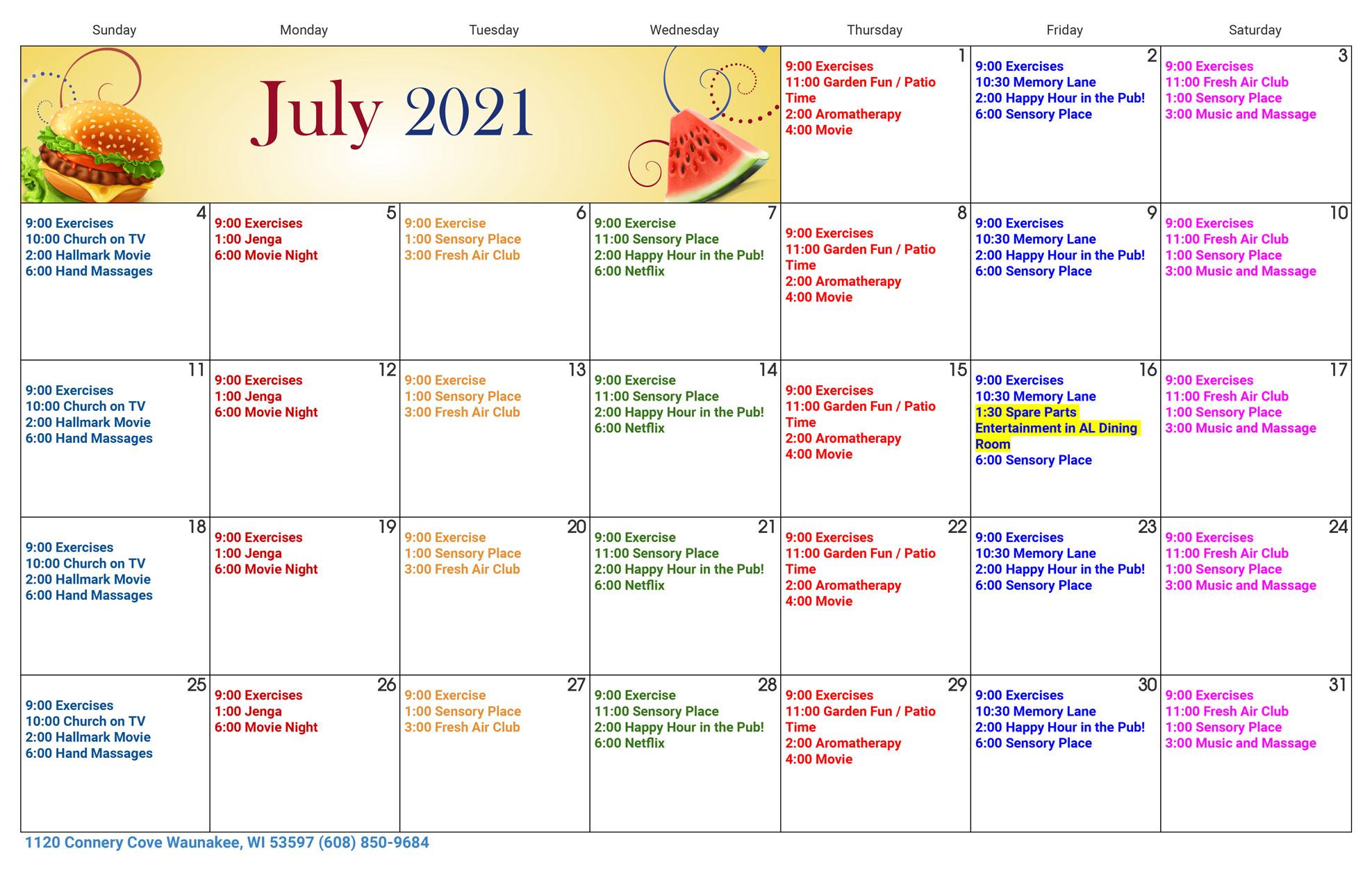 Waunakee Memory Care July Activity Calendar