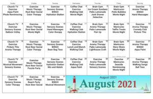 Columbus Memory Care August Activity Calendar