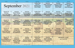 Cambridge Memory Care September Activity Calendar