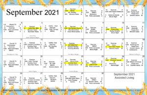 Columbus Assisted Living September Activity Calendar
