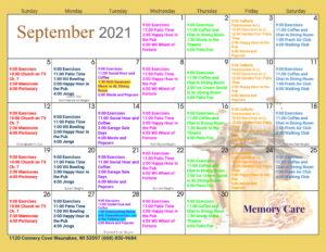 Waunakee Memory Care September Activity Calendar