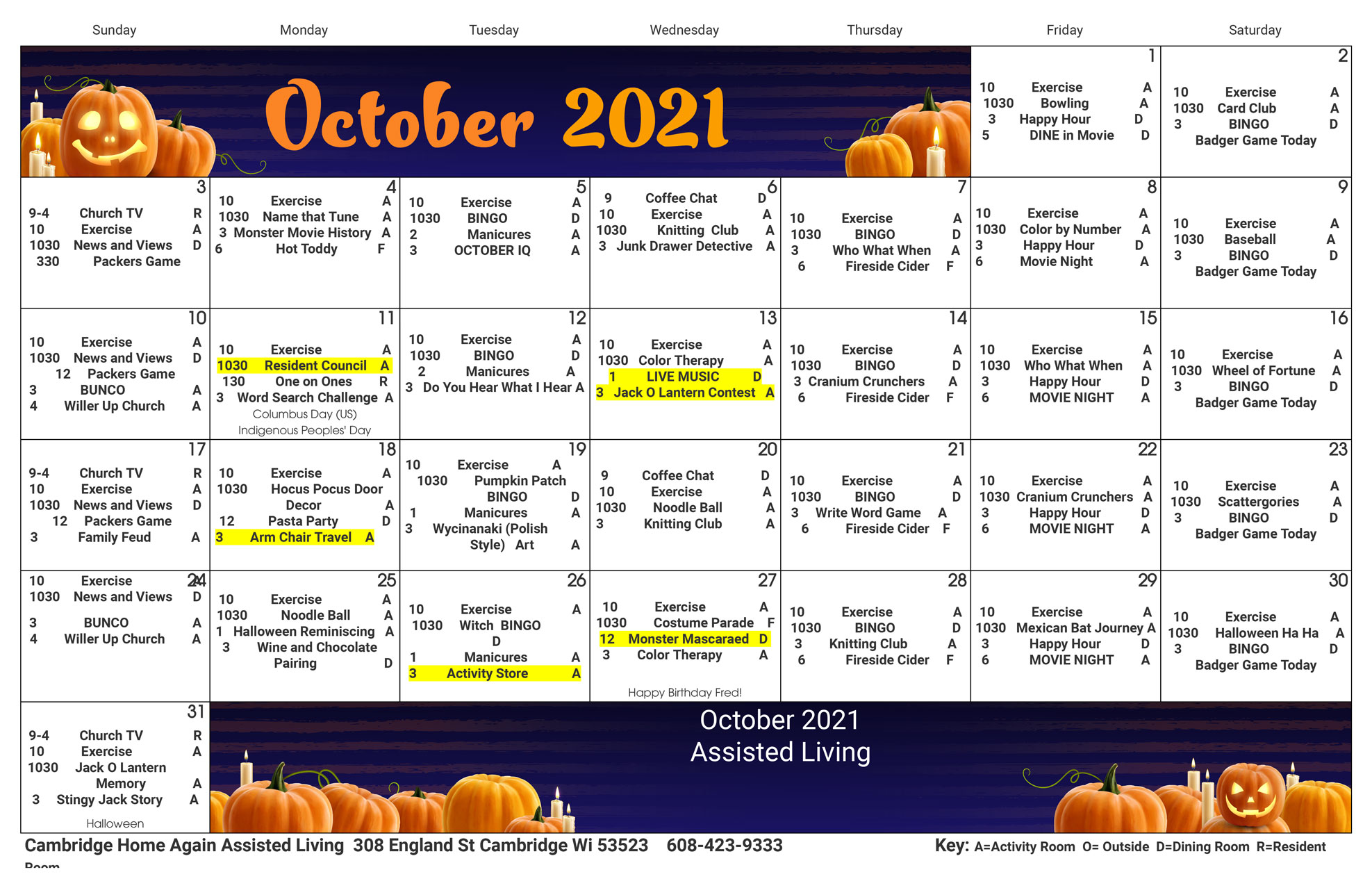 Cambridge Assisted Living October 2021 Activity Calendar