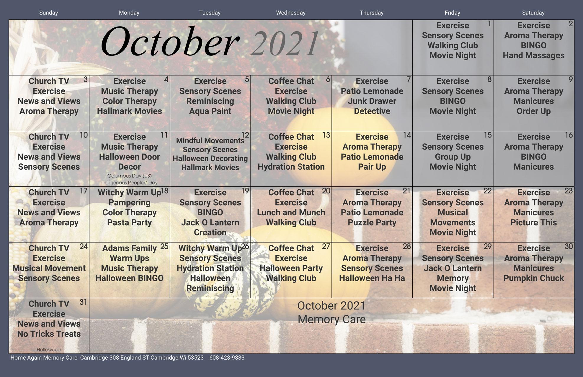 Cambridge Memory Care October 2021 Activity Calendar