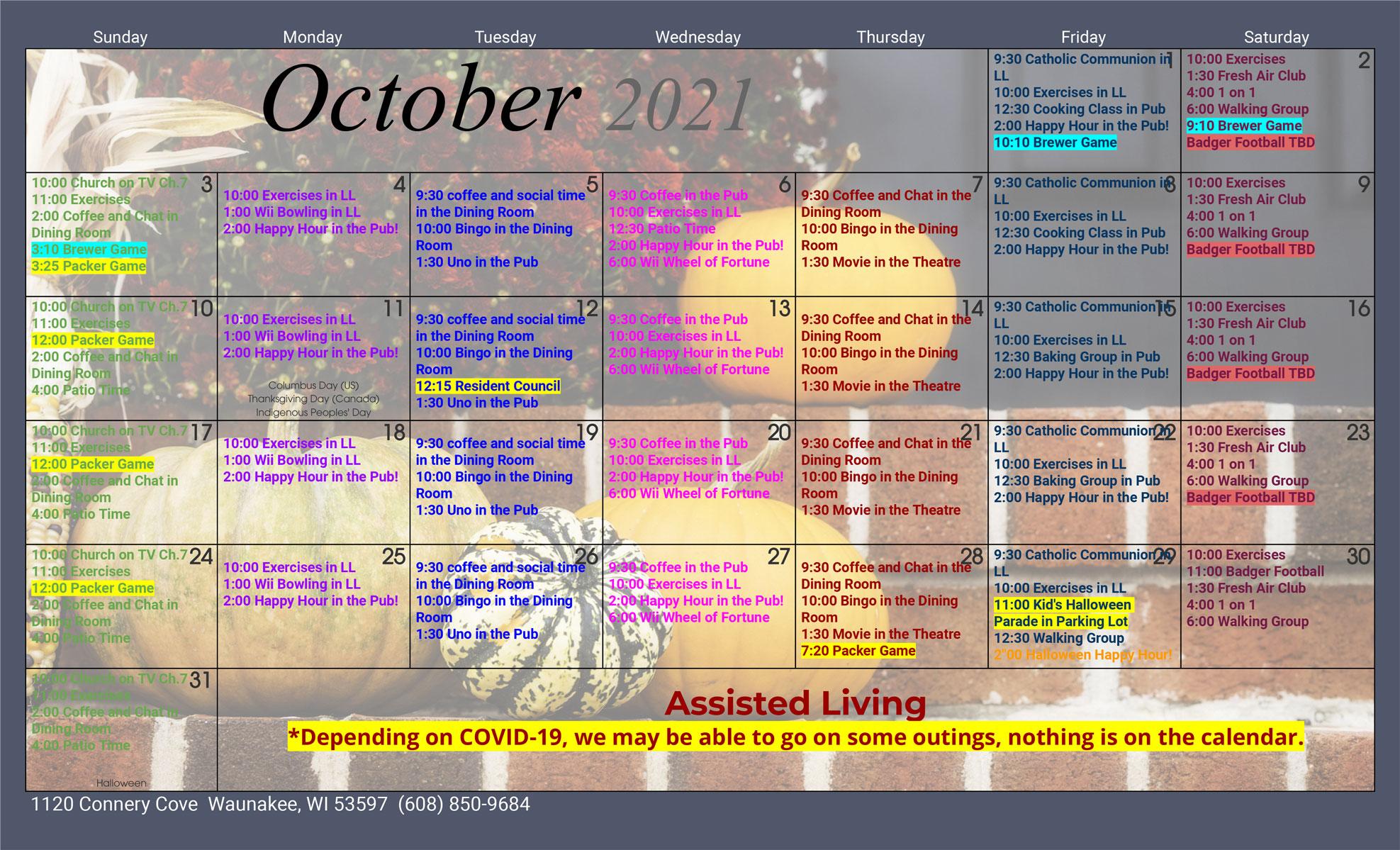 Waunakee Assisted Living October 2021 Activity Calendar